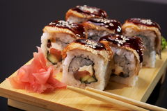 Smoked Eel Roll unagi made of Fresh Raw Salmon Royalty Free Stock Photo