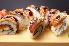 Smoked Eel Roll unagi made of Fresh Raw Salmon Royalty Free Stock Photography
