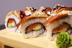 Smoked Eel Roll unagi made of Fresh Raw Salmon Stock Image