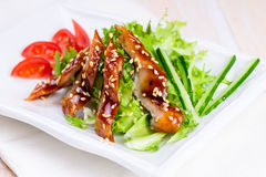 Smoked eel with unagi sauce and sesame seeds Stock Photography