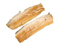 Smoked fillet of herring. On a white background Royalty Free Stock Photo