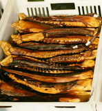 Smoked fish. Appetizing fresh smoked fish On sale stock photo