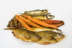 Smoked fish. On wire isolated on white background Stock Photo