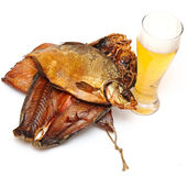Smoked fish with a beer Stock Image