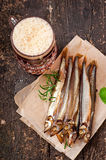 Smoked fish with beer Royalty Free Stock Photo