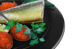 Smoked fish and caviar Stock Image