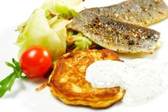Smoked Fish Fillet with Cabbage Salad Royalty Free Stock Images