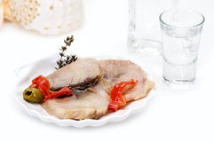 Smoked fish fillet and ouzo Royalty Free Stock Photography