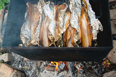 Smoked fish on fire Stock Photography