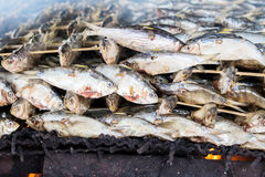 Smoked fish from fishing village food industry at krabi thailand Royalty Free Stock Images
