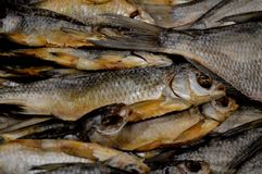 Smoked fish. Fragment from the fish store. royalty free stock image