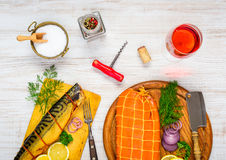 Smoked Fish with Glass Rose Wine Stock Image
