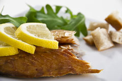 Smoked fish with lemon and salad Stock Images