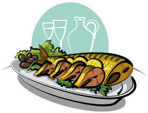 Smoked fish mackarel, lemons and olives. With lettuce Stock Image