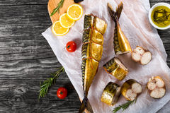 Smoked fish Mackerel or Scombe, top view Stock Photography