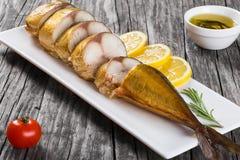 Smoked fish Mackerel or Scombe, top view Royalty Free Stock Photos