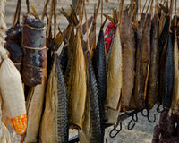 Smoked fish on the market Royalty Free Stock Photography