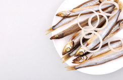 Smoked fish on a plate Royalty Free Stock Images