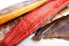 Smoked fish - red salmon, halibut, flounder royalty free stock photo