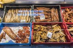 Smoked fish in retail fridge Royalty Free Stock Photography