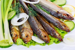 Smoked fish, salad Stock Photos