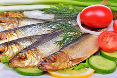 Smoked fish, salad Royalty Free Stock Image