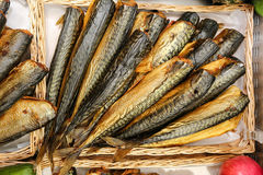 Smoked fish. Sale traditional style food royalty free stock photography