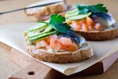 Smoked fish sandwich mackerel tomato feihua paprika cheese stock photography
