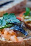 Smoked fish sandwich mackerel tomato feihua paprika cheese stock photo