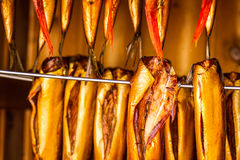 Smoked fish in smokehouse Royalty Free Stock Images