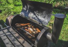 Smoked fish in smokehouse. Royalty Free Stock Photography