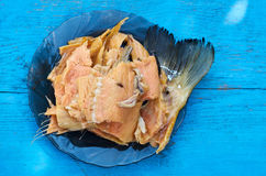 Smoked fish - soft traditional snack for beer on wooden table wi Stock Photo