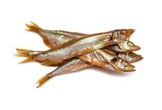 Smoked fish. Sprat isolated on white background Royalty Free Stock Photo