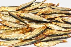 Smoked fish, sprats Royalty Free Stock Images