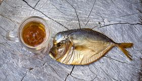 Smoked fish on the wooden table, vomer, beer Stock Images