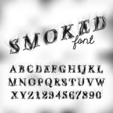 Smoked font set. Smoked burnt alphabet font set, letters and numbers. Vector decorative alphabet Royalty Free Stock Photography