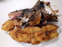 Smoked and fried carp stock photos