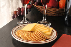 Smoked Gouda Cheese with Crackers Royalty Free Stock Image