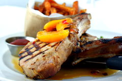 Smoked Grilled Pork Chops Royalty Free Stock Photography