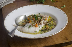 Smoked haddock with lentils Stock Image