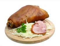 Smoked ham. With cabbage and parsley Stock Photo