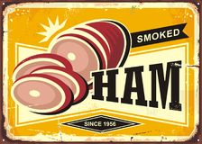 Smoked ham advertising with sliced ham on old rusty yellow background. Retro sign promotional vector food illustration Stock Photo