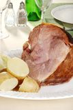 Smoked ham with boiled potatoes Royalty Free Stock Photo