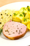 Smoked Ham With Cabbage And Boiled Potatoes Stock Images