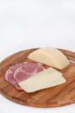 Smoked ham with cheese in one piece Royalty Free Stock Photo