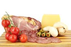 Smoked ham cheese salami Royalty Free Stock Photography