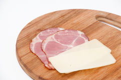 Smoked ham cut with cropped yellow cheese Stock Photos