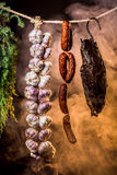 Smoked ham in the homemade smokehouse Royalty Free Stock Image