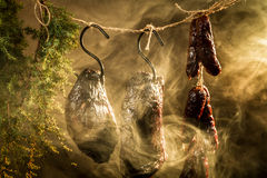 Smoked ham in homemade smokehouse Royalty Free Stock Photography