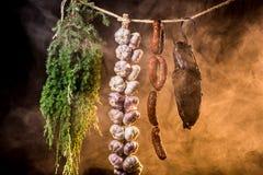 Smoked ham in homemade smokehouse Royalty Free Stock Photography